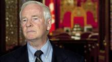 David Johnston makes brief remarks outside the Senate on July 8, 2010, after being named Canada's next governor-general. (The Canadian Press)