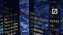The headquarters of Germany's Deutsche Bank are seen early evening in Frankfurt, Germany, on Jan. 31, 2017. (Kai Pfaffenbach/REUTERS)