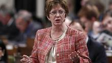 Human Resources Minister Diane Finley speaks during Question Period in the House of Commons on Sept. 18, 2012. Ms. Finley has been ordered by a federal judge to 'further consider' her compliance in the HD Mining case. (CHRIS WATTIE/REUTERS)