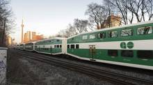 A GO Transit train heads west after leaving Union Station in Toronto. (Fred Lum/The Globe and Mail)