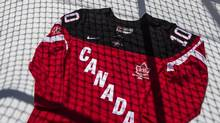 A commemorative jersey is pictured at Hockey Canada's news conference in Toronto on Thursday, June 26, 2014 to launch their 100th anniversary celebration plans. (Chris Young/THE CANADIAN PRESS)
