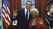 President Barack Obama, seen with original Star Trek cast member Nichelle Nichols, engages in a gesture that conveys his affinity for moderately plausible outer-space television narratives. (Screenshot/Twitter)