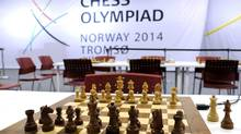 A chess set is pictured at the 41st Chess Olympiad in Tromsoe, Norway, on Aug. 1, 2014. China won the men's title and Russia won the women's title in the biennial chess tournament. (NTB SCANPIX/REUTERS)