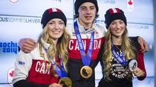 Gold medal winner Justine Dufour-Lapointe, bronze medal winner Mark McMorris and silver medal winner Chloé Dufour-Lapointe at Canada House on Feb. 9, 2014, at the Sochi Olympic. (John Lehmann/The Globe and Mail)
