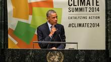 U.S. President Barack Obama speaks at the United Nations Climate Summit on September 23, 2014 in New York City. (Andrew Burton/Getty Images)
