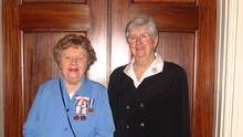 Ruth Bell (in blue) with her friend Dorothy Phillips at Rideau Hall in November, 2006, when she received the Governor-General's Persons Award. (Courtesy of Andrea McCormick)