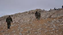 Forces loyal to Syria's President Bashar al-Assad walk atop of a hill on the edge of Palmyra, Syria, on March 2, 2017. (SANA/REUTERS)
