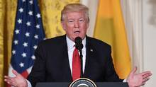 U.S. President Donald Trump speaks during a joint press conference with Colombia's President Juan Manuel Santos at the White House in Washington, D.C., on May 18, 2017. (JIM WATSON/AFP/Getty Images)