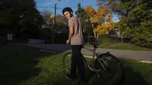 Toronto high-school graduate Joel King, 17, is pondering studying something arts related, or auto mechanics. In his year off, he is working and making the most of his bike. (J.P. MOCZULSKI/THE GLOBE AND MAIL)
