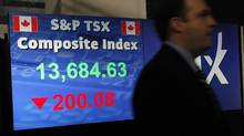 The S&P TSX composite index is seen at the TMX Broadcast Centre in The Exchange Tower in Toronto, Ontario, Canada. (Deborah Baic/Deborah Baic/The Globe and Mail)