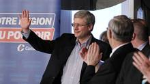 Conservative Leader Stephen Harper at a campaign raily in Beaupre, Que., on April 14, 2011. (Mathieu Belanger/Reuters/Mathieu Belanger/Reuters)