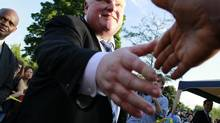 Toronto Mayor Rob Ford goes to shake the hand of a supporter at the 13th Annual Ford Fest being held at Thomson Memorial Park in Scarborough on July 5, 2013. (Peter Power/The Globe and Mail)