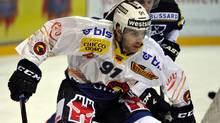 In this picture, taken Oct.5, 2012 Islanders' John Tavares, NHL lockout player, now with SC Bern, challenges for the puck during the match between EV Zug and SC Bern in Zug, Switzerland. (Associated Press)