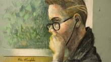 An artist's sketch shows Luka Rocco Magnotta in a Montreal courtroom on March 13, 2013. (MIKE McLAUGHLIN/THE CANADIAN PRESS)