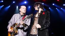 The American iconic rock band the J. Geils Band with lead guitarist J. Geils and lead vocalist Peter Wolf performs during the first of two sold out shows at the Bank of America Pavilion in Boston, on August 6, 2011. John Warren Geils Jr., founder of The J. Geils Band, has died in his Massachusetts home at 71. (Robert E Klein/AP)