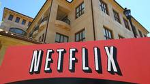 A sign is posted in front of the Netflix headquarters in Los Gatos, California. (Justin Sullivan/Getty Images/Justin Sullivan/Getty Images)