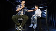 Comedian Ali Hassan and his son Maaz,3, are photographed at the Comedy Bar at 945 Bloor St. West on June 15 2015. (Fred Lum/The Globe and Mail)