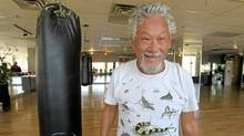 David Suzuki at Ron Zalko's gym in Vancouver. He says too much lab work had led to a pot belly. (Laura Leyshon for The Globe and Mail)