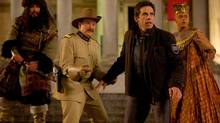 Patrick Gallagher, from left, along with the late Robin Williams, Ben Stiller and Rami Malek star in Night at the Museum: Secret of the Tomb. One scene in the film is a fitting tribute to Williams, who died in August. (Kerry Brown)