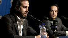 Philadelphia Flyers forwards Simon gagne, left, and Danny Briere speak to reporters at a media availability at the Bell Centre Wednesday, May 19, 2010 in Montreal. The Flyers play the Montreal Canadiens Thursday, May 20, 2010 in Game 3 of the NHL Eastern Conference finals. (Ryan Remiorz/THE CANADIAN PRESS)