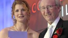 """Johanna Skibsrud, winner of the 2010 Giller Prize, with prize founder Jack Rabinovitch: Winning made sales of her book """"The Sentimentalists"""" take a huge jump. (J.P. MOCZULSKI/The Globe and Mail)"""
