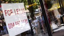 Retail spaces for lease along Vancouver's Robson Street ar (John Lehmann/The Globe and Mail)