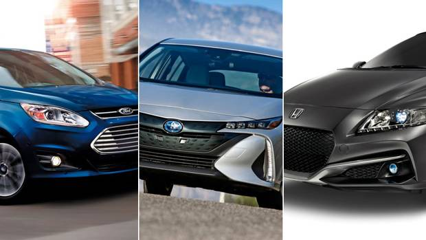 From left, a 2017 Ford C-Max, a 2017 Toyota Prius Prime and a 2016 Honda CR-Z.