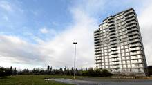 The site of a proposed hospice, left, is pictured on the University of British Columbia campus adjacent to a residential high-rise in Vancouver, B.C., on Friday January 14, 2011. (Darryl Dyck/ The Globe and Mail/Darryl Dyck/ The Globe and Mail)