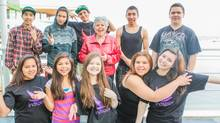 Indspire preisdent Roberta Jamieson poses with students attending the 2014 Soaring conference in Vancouver. Indspire is one of the recipient organizations being supported by the Slaight Family Foundation.