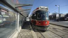 A streetcar on Toronto's St. Clair LRT. (Fred Lum/Fred Lum/The Globe and Mail)