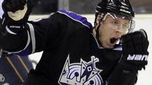 Los Angeles Kings defenseman Jack Johnson celebrates his goal during the third period of their NHL hockey game, Thursday, Dec. 23, 2010, in Los Angeles. The Kings won 3-2 in a shootout. (AP Photo/Mark J. Terrill) (Mark J. Terrill)