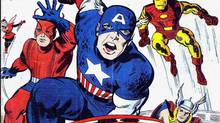 Detail from the cover of the Captain America Lives Again issue of the Avengers comic book.