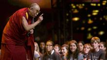 His Holiness the Dalai Lama takes a moment to speak to youth attending We Day in Vancouver, Tuesday, Sept. 29, 2009. (Jonathan Hayward/Jonathan Hayward/THE CANADIAN PRESS)