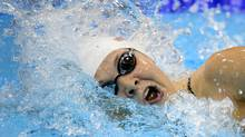 Canada's Brittany Maclean competes in the women's 400-metre freestyle heat at the Aquatic Centre in the Olympic Village at the 2012 Summer Olympics in London on Sunday, July 29, 2012. (The Canadian Press)