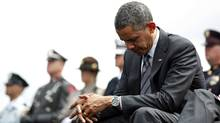 U.S. President Barack Obama waits to speak during the National Peace Officers Memorial Service in Washington on May 15, 2012. (Larry Downing/Reuters)