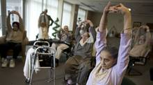 Mrs. Saroj Sood, 92, participates in an exercise class at herretirementhome in Surrey, British Colombia on February 12th, 2009 (Simon Hayter For the Globe and Mail)
