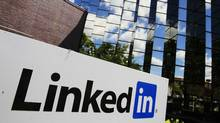 LinkedIn Corp., the professional networking Web site, displays its logo outside of headquarters in Mountain View, Calif., Monday, May 9, 2011. (Paul Sakuma/AP)