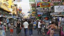 "Khaosan Road in Bangkok, Thailand. A Canadian government memo dated Dec. 12, 2014 shows public servants in Foreign Affairs cautioned the offices of Foreign Affairs Minister John Baird and International Trade Minister Ed Fast to pause this ""exploratory process"" with Thailand. (Akabei/Getty Images)"