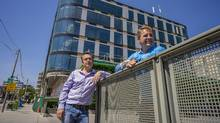 Wes Myles, co-founder of Clifton Blake Group, left, and Oldstonehenge Development's Michael Dobrijevic are turning the old Sherritt International headquarters in midtown Toronto into a mixed-used building that will include include retail and office condo space. (J.P. Moczulski/The Globe and Mail)