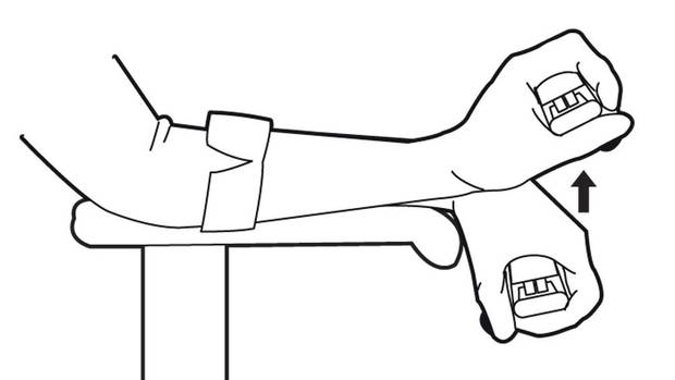 Hold a light piece of office equipment such as a stapler. Place your forearm on the arm rest of your chair. Allow your wrist to dangle over the end. With your palm facing down, bend at the wrist so your knuckles move toward your forearm. Repeat 15 times, then switch hands. (Carrie Cockburn/The Globe and Mail)