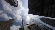 Bank towers are shown from Bay Street in Toronto's financial district, in this file phot0. (Adrien Veczan/THE CANADIAN PRESS)