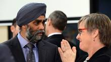 Canadian Defence Minister Harjit Singh Sajjan looks on before the North Atlantic Council (NAC) of Defence Ministers at NATO headquarter in Brussels on February 10, 2016. NATO defence ministers convene a two-day meeting to discuss current defense issues and whether the Alliance should take a more direct role in dealing with its gravest migrant crisis since Worl War II.