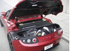 Proof positive that the Tesla's trunk can hold a set of golf clubs.