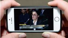 Netflix global public policy director Corie Wright is pictured on streaming video as she testify before the CRTC in Ottawa. (Sean Kilpatrick/Canadian Press)