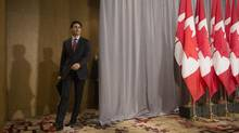 Canadian Prime Minister Justin Trudeau arrives to address the media following a summit meeting in Toronto with investors and members of the Canadian government, on Monday November 14 , 2016. Trudeau arrives in Cuba today. (Chris Young/THE CANADIAN PRESS)