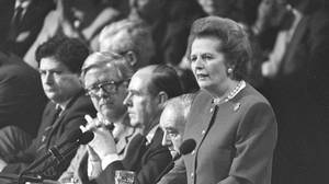 Margaret Thatcher gives the final address of the Conservative Convention in Brighton in this October 14, 1988 file photo.