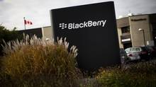 A sign is seen at the Blackberry campus in Waterloo, Ont., Sept. 23, 2013. (MARK BLINCH/REUTERS)