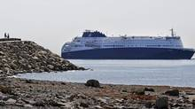 The Nova Star makes its way into Boston Harbor for a christening ceremony in May. The 528-foot cruise ferry, which can carry more than 1200 passengers and 300 motor vehicles, makes daily roundtrip crossings between Yarmouth, N.S. and Portsmouth, Me. (Elise Amendola/AP)