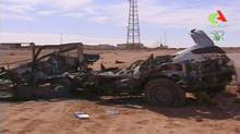 An image taken from Algerian TV broadcast on Sunday, Jan. 20, 2013, showing what it said was the aftermath of the hostage crisis at the remote Ain Amenas gas facility in Algeria. Algerian special forces stormed the plant on Saturday to end a four-day siege. (Uncredited/Associated Press)