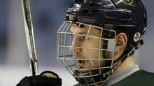 Buffalo Sabres' Patrick Kaleta looks on during NHL practice in Buffalo, N.Y., Tuesday, April 19, 2011. (David Duprey/AP)